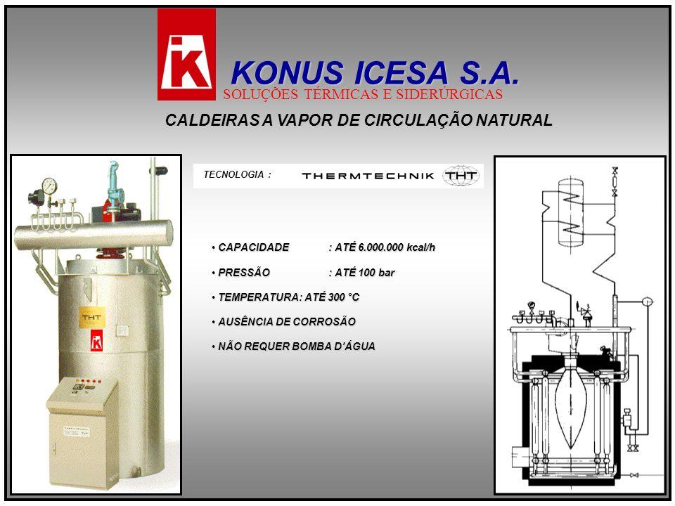 CALDEIRAS A VAPOR DE CIRCULAÇÃO NATURAL TECNOLOGIA : CAPACIDADE : ATÉ 6.000.000 kcal/h CAPACIDADE : ATÉ 6.000.000 kcal/h PRESSÃO : ATÉ 100 bar PRESSÃO