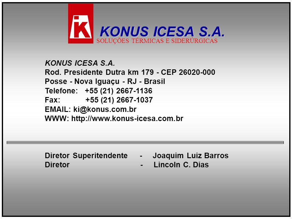 KONUS ICESA S.A. Rod. Presidente Dutra km 179 - CEP 26020-000 Posse - Nova Iguaçu - RJ - Brasil Telefone: +55 (21) 2667-1136 Fax: +55 (21) 2667-1037 E