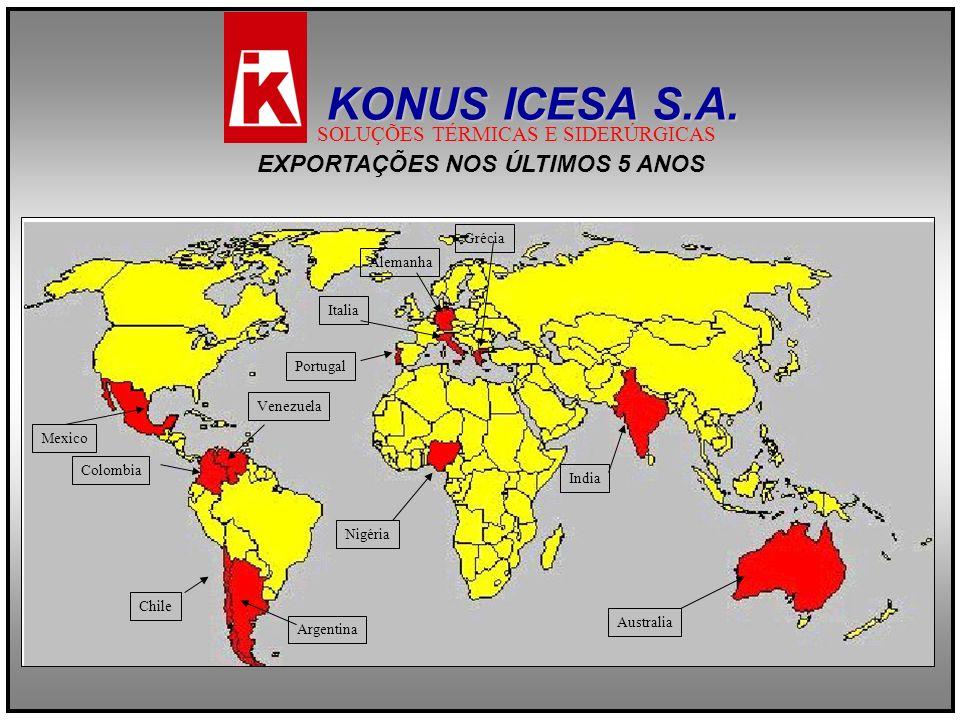 EXPORTAÇÕES NOS ÚLTIMOS 5 ANOS EXPORTAÇÕES NOS ÚLTIMOS 5 ANOS Argentina Chile Colombia Venezuela Australia India Portugal Alemanha Italia Grécia Nigér