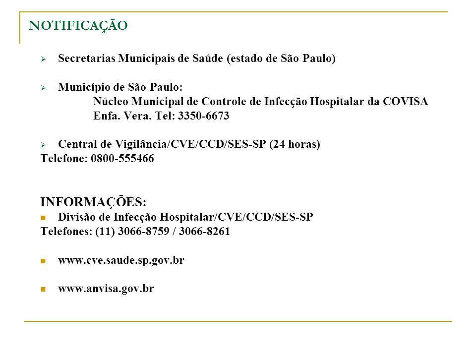 Secretarias Municipais de Saúde (estado de São Paulo) Município de São Paulo: Núcleo Municipal de Controle de Infecção Hospitalar da COVISA Enfa. Vera