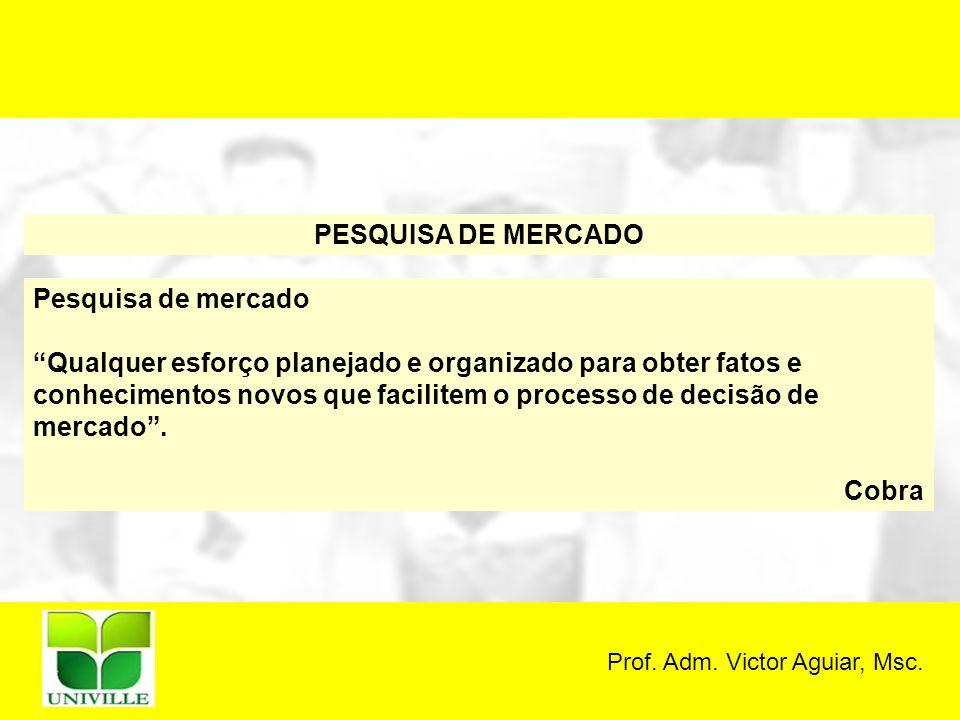 Prof. Adm. Victor Aguiar, Msc. PESQUISA DE MERCADO Pesquisa de mercado Qualquer esforço planejado e organizado para obter fatos e conhecimentos novos