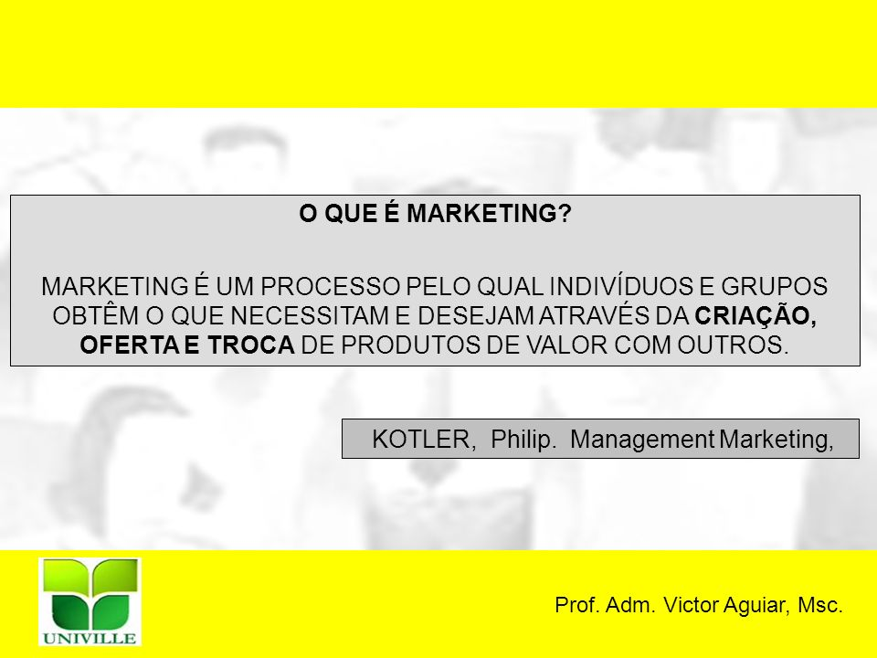 Prof.Adm. Victor Aguiar, Msc. O QUE É MARKETING.