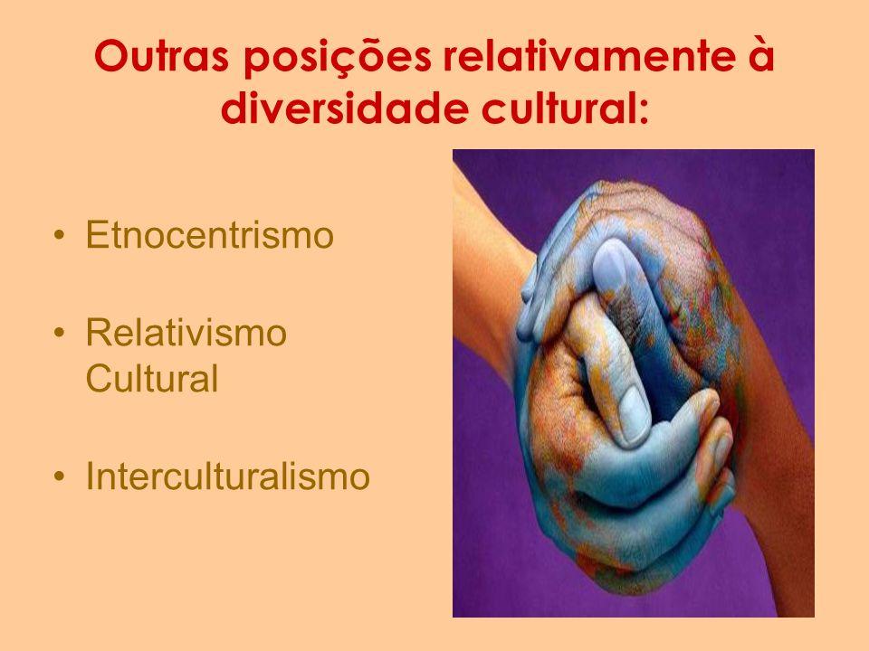 Outras posições relativamente à diversidade cultural: Etnocentrismo Relativismo Cultural Interculturalismo