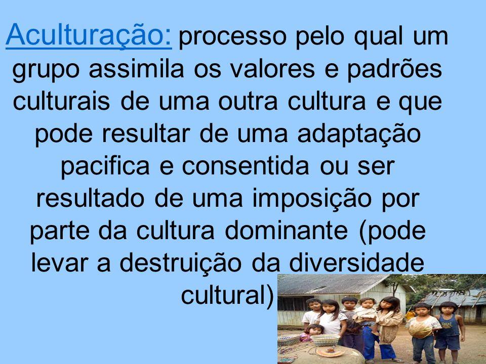 Aculturação: processo pelo qual um grupo assimila os valores e padrões culturais de uma outra cultura e que pode resultar de uma adaptação pacifica e