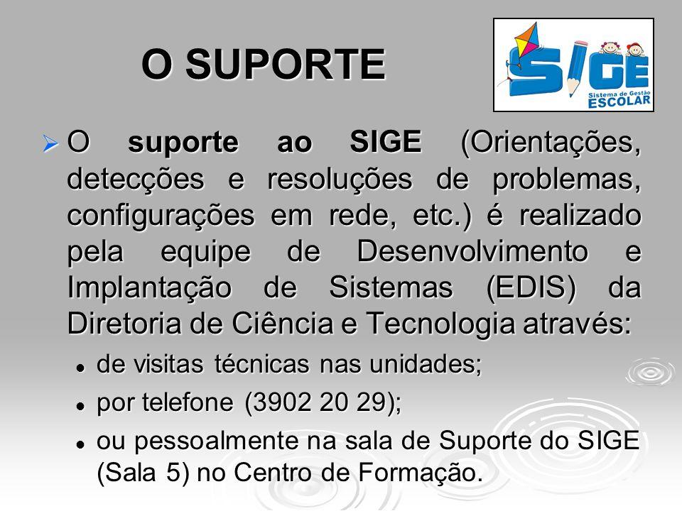 O SUPORTE O suporte ao SIGE (Orientações, detecções e resoluções de problemas, configurações em rede, etc.) é realizado pela equipe de Desenvolvimento