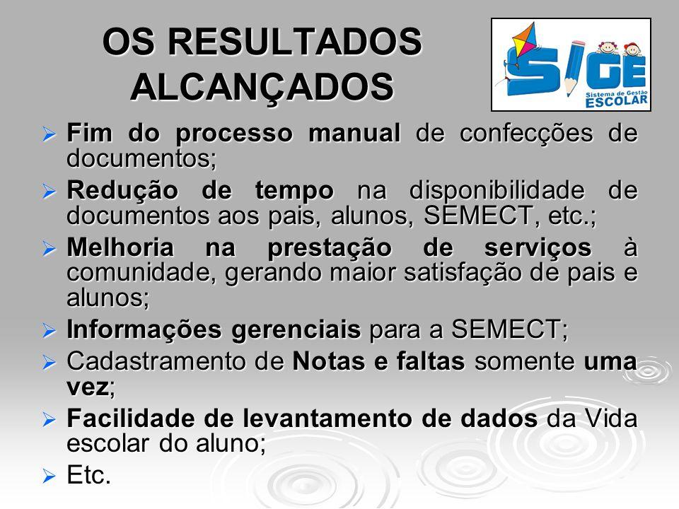 OS RESULTADOS ALCANÇADOS Fim do processo manual de confecções de documentos; Fim do processo manual de confecções de documentos; Redução de tempo na d
