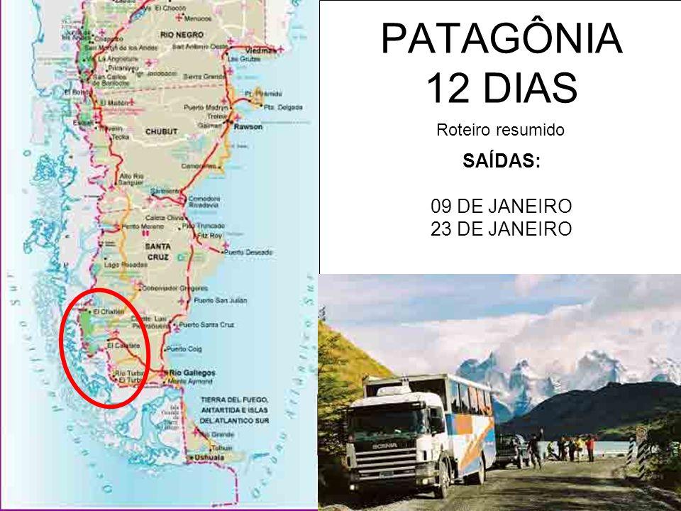 ANO NOVO, JANEIRO E FEVEREIRO PATAGÔNIA 2007 - 12 dias Saídas: - 09 a 20 de janeiro 2007 (21 de janeiro voltando de Buenos Aires) - 23 de janeiro a 3 de fevereiro 2007 (04 de fevereiro voltando de Buenos Aires) O ROTEIRO INCLUI: (R$ 1.980) Peça roteiro dia-a-dia detalhado em info@exploranter.com Transporte de estrada no Exploranter 11 pernoites a bordo do Exploranter 11 cafés da manhã 2 jantares em Torres del Paine Staff Exploranter Uso da estrutura de cozinha do Exploranter para jantares comunitários O ROTEIRO NÃO INCLUI: Extras de caráter pessoal Roupas de cama e banho Sacos de dormir Passeios extras Refeições e itens não mencionados Entradas em parques Aéreo Documentação pessoal AÉREO: Temos bloqueios para as saídas de 9 e 23 de janeiro – US$ 500 Os preços de aéreo podem mudar sem prévio aviso O aéreo para a Patagônia é disputado pelo mundo todo.