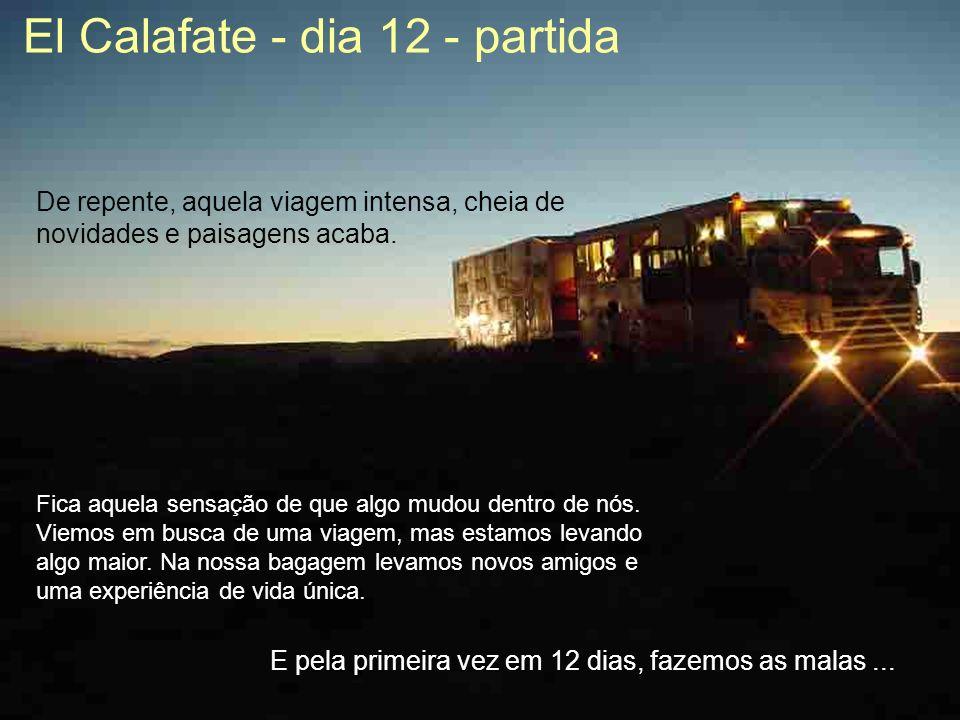 El Calafate - dia 12 - partida De repente, aquela viagem intensa, cheia de novidades e paisagens acaba.