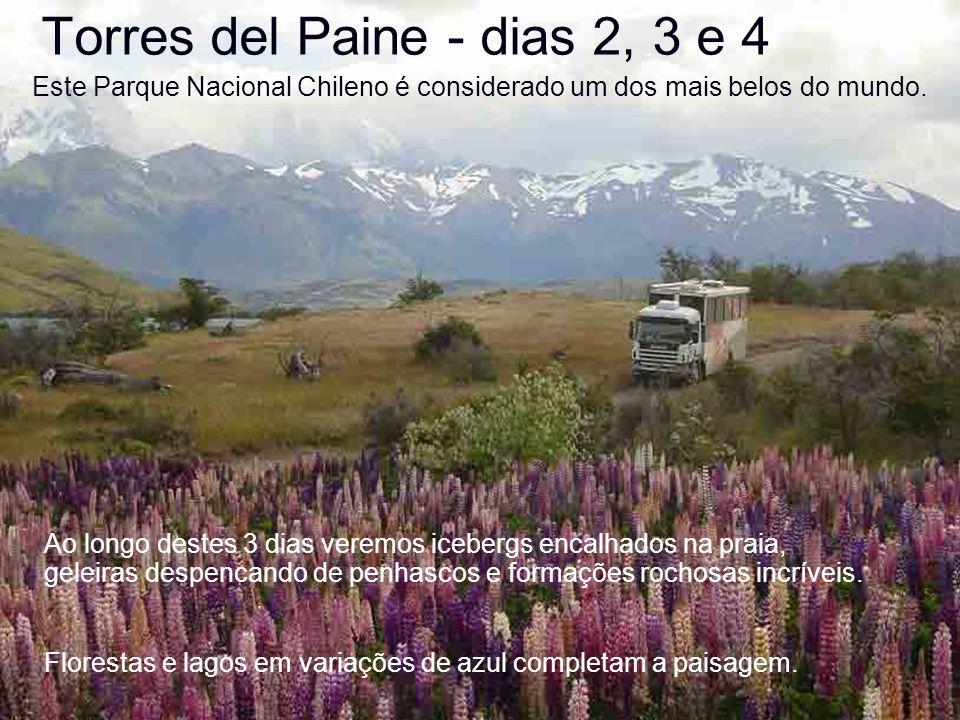 Torres del Paine - dias 2, 3 e 4 Este Parque Nacional Chileno é considerado um dos mais belos do mundo. Ao longo destes 3 dias veremos icebergs encalh