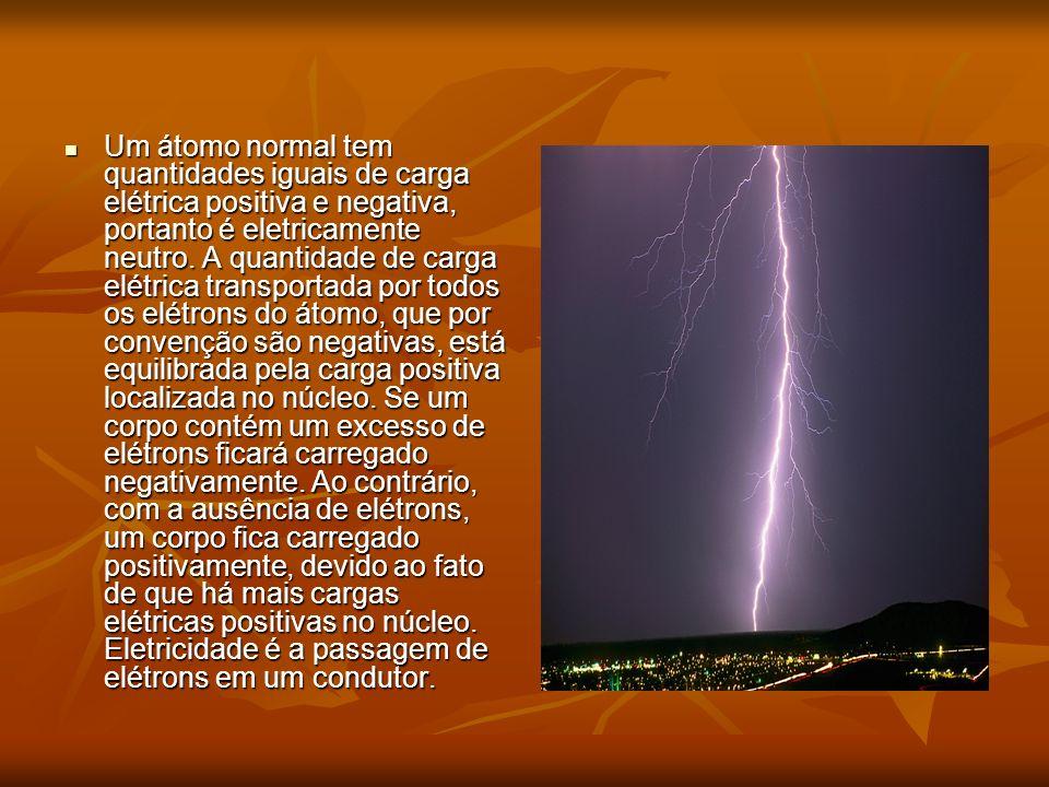 Um átomo normal tem quantidades iguais de carga elétrica positiva e negativa, portanto é eletricamente neutro. A quantidade de carga elétrica transpor