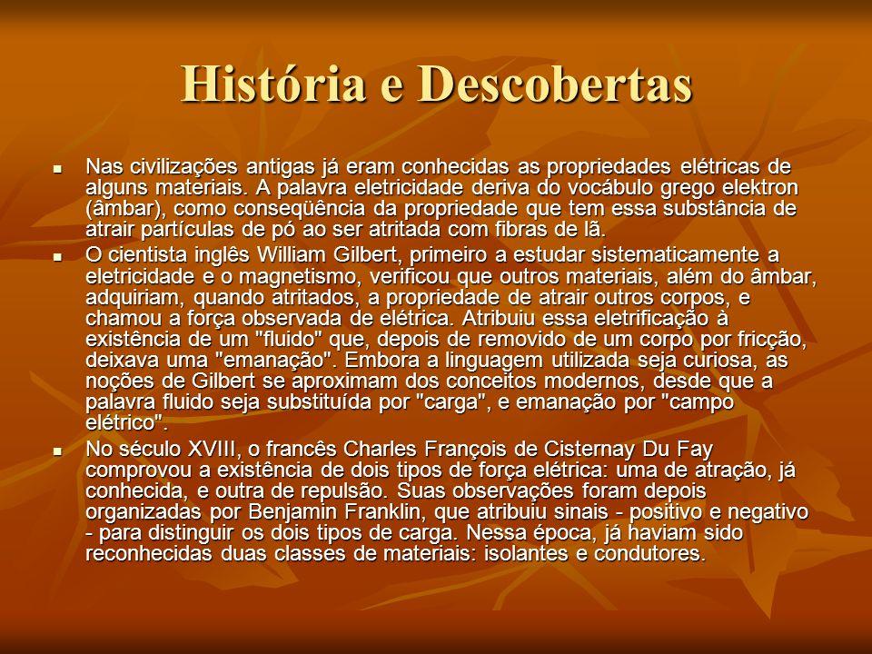 História e Descobertas Nas civilizações antigas já eram conhecidas as propriedades elétricas de alguns materiais. A palavra eletricidade deriva do voc