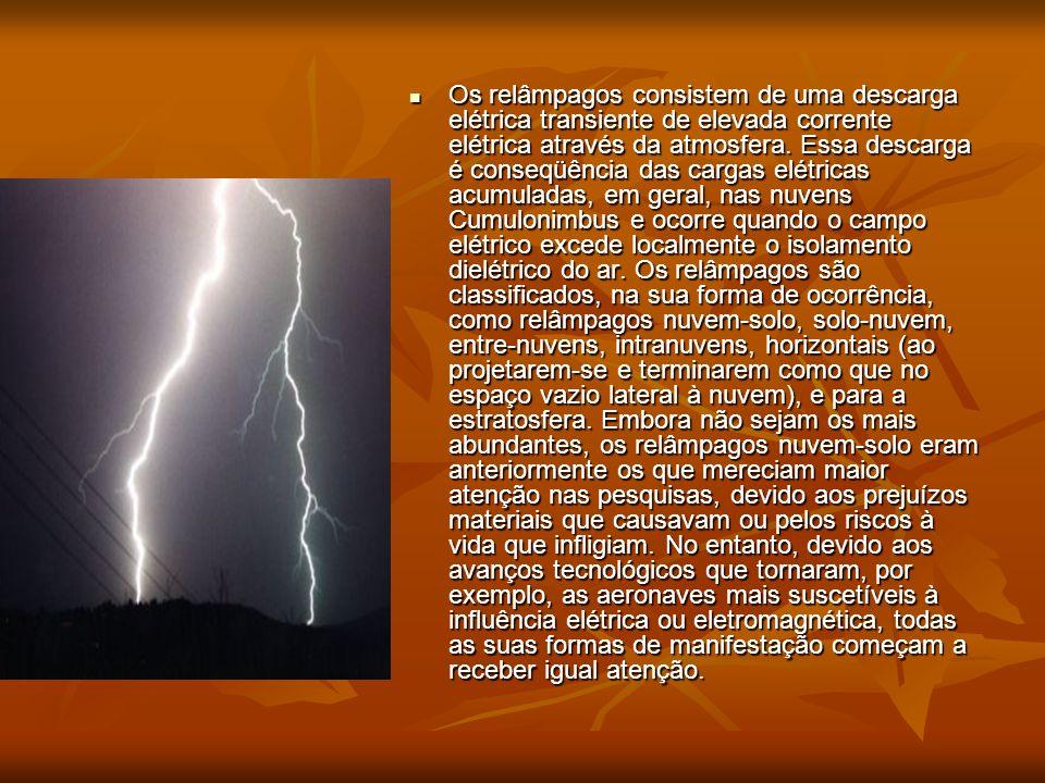 Os relâmpagos consistem de uma descarga elétrica transiente de elevada corrente elétrica através da atmosfera. Essa descarga é conseqüência das cargas