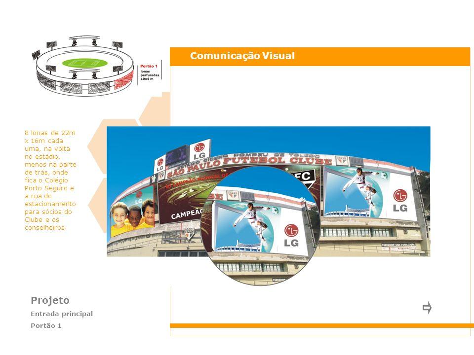 Projeto Laterais do estádio Portões 5 e 6 Comunicação Visual Visão lateral das lonas do anel do Estádio