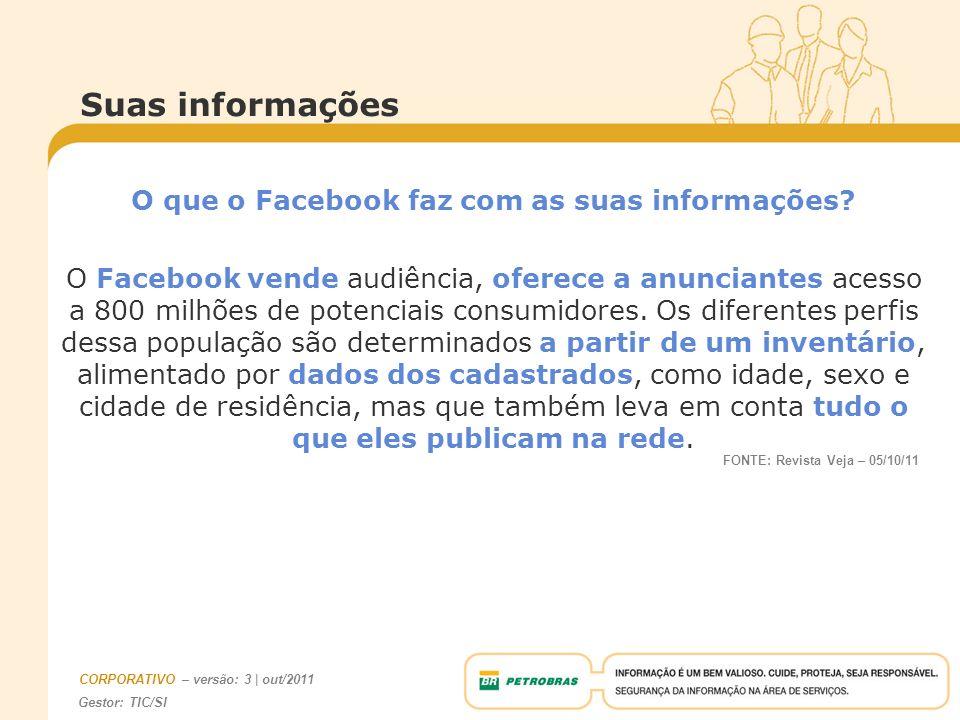 Gestor: TIC/SI CORPORATIVO – versão: 3 | out/2011 Suas informações O que o Facebook faz com as suas informações? O Facebook vende audiência, oferece a