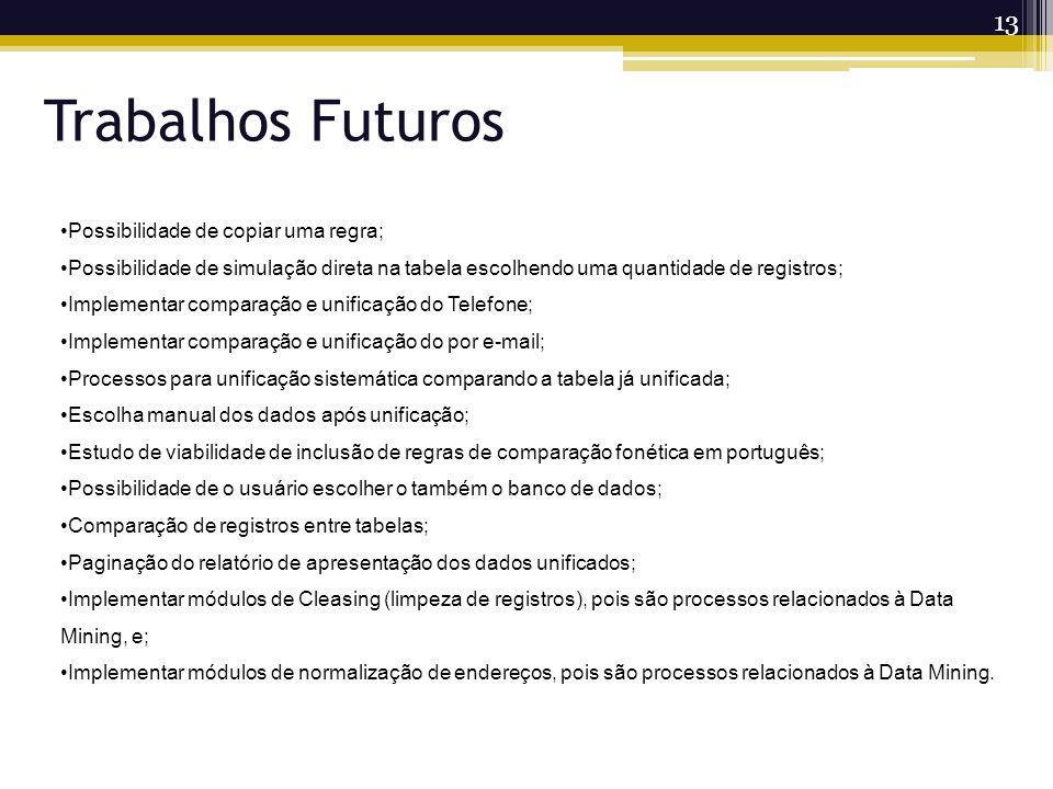 13 Trabalhos Futuros Possibilidade de copiar uma regra; Possibilidade de simulação direta na tabela escolhendo uma quantidade de registros; Implementa