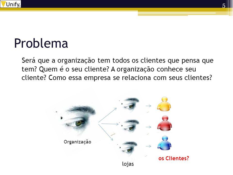 Problema Quando um sistema de informação não se preocupa com o marketing de relacionamento, e existem problemas cadastrais em seu sistema, a organização se limita a enxergar o que suas lojas enxergam.