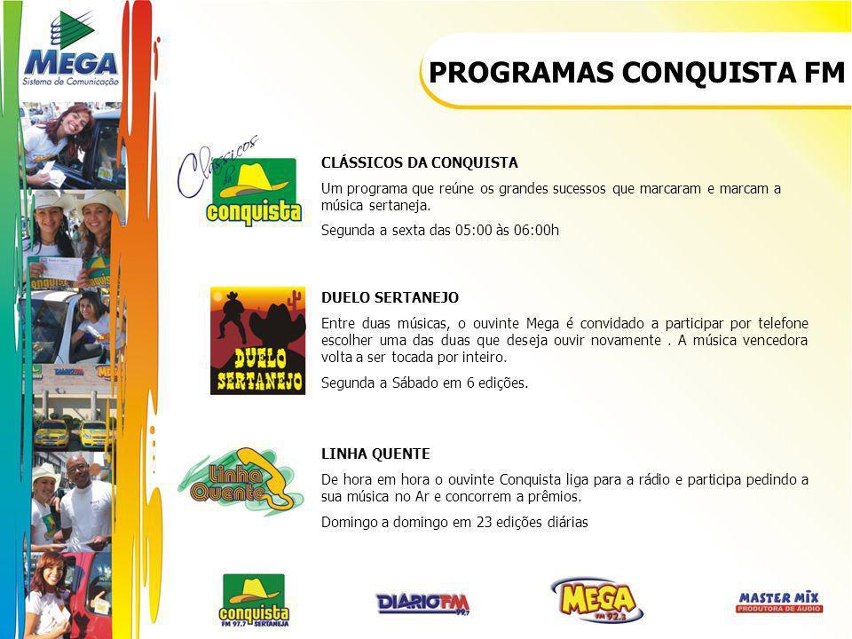 PROGRAMAS CONQUISTA FM CLÁSSICOS DA CONQUISTA Um programa que reúne os grandes sucessos que marcaram e marcam a música sertaneja. Segunda a sexta das