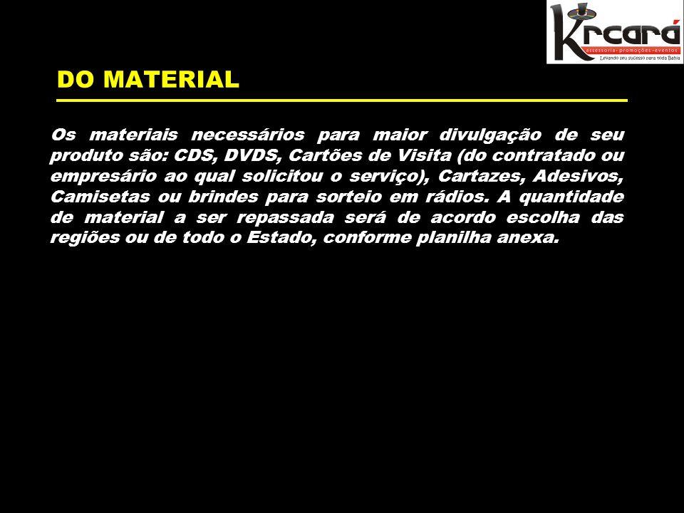 DO MATERIAL Os materiais necessários para maior divulgação de seu produto são: CDS, DVDS, Cartões de Visita (do contratado ou empresário ao qual solicitou o serviço), Cartazes, Adesivos, Camisetas ou brindes para sorteio em rádios.