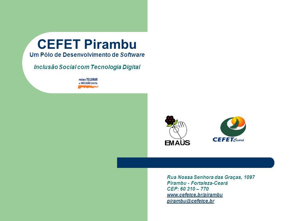 Apresentação Parceria entre o Centro Federal de Educação Tecnológica do Ceará (CEFET-CE) e o Movimento EMAÚS, o CEFET Pirambu é um projeto de extensão de inclusão social com tecnologia digital.