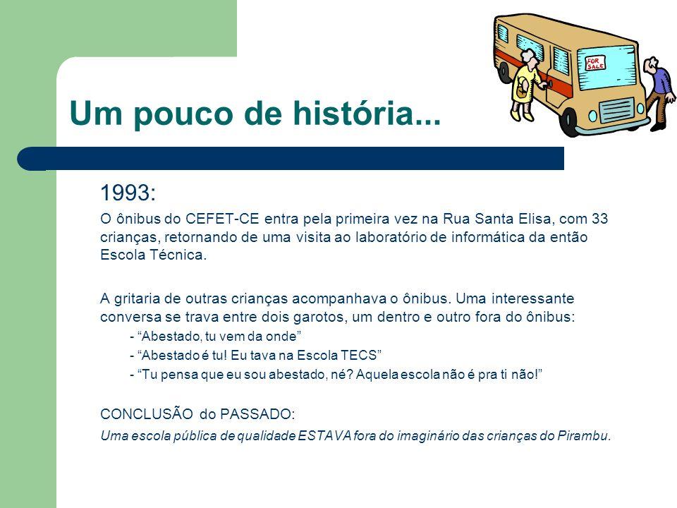 Um pouco de história... 1993: O ônibus do CEFET-CE entra pela primeira vez na Rua Santa Elisa, com 33 crianças, retornando de uma visita ao laboratóri