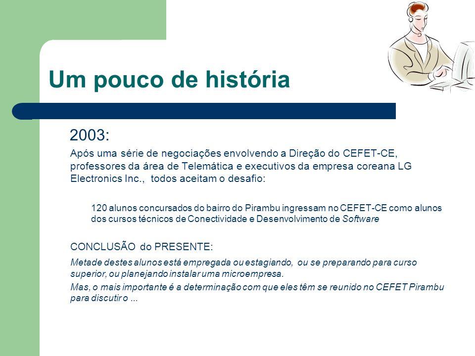 Um pouco de história 2003: Após uma série de negociações envolvendo a Direção do CEFET-CE, professores da área de Telemática e executivos da empresa c