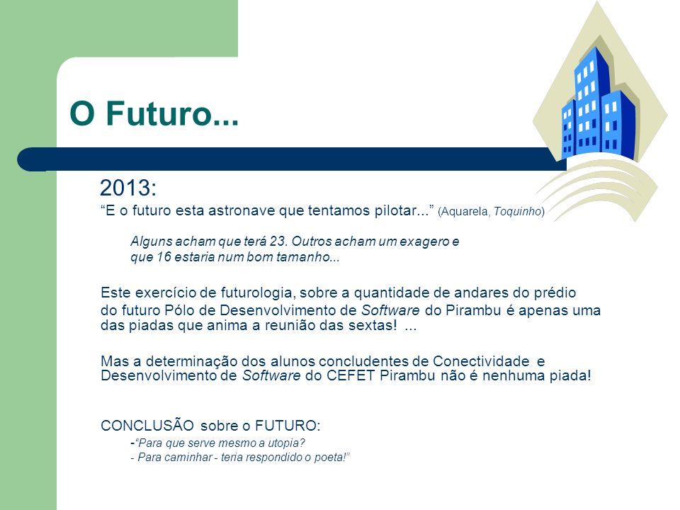 O Futuro... 2013: E o futuro esta astronave que tentamos pilotar... (Aquarela, Toquinho) Alguns acham que terá 23. Outros acham um exagero e que 16 es