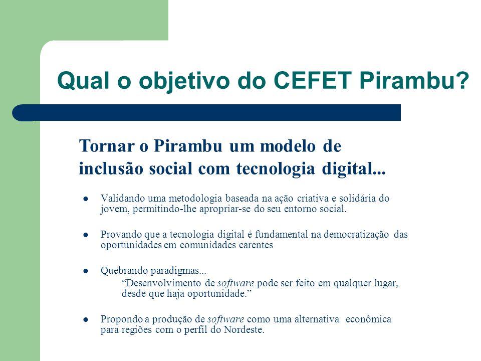 Qual o objetivo do CEFET Pirambu? Validando uma metodologia baseada na ação criativa e solidária do jovem, permitindo-lhe apropriar-se do seu entorno