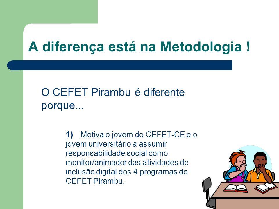 A diferença está na Metodologia ! O CEFET Pirambu é diferente porque... 1) Motiva o jovem do CEFET-CE e o jovem universitário a assumir responsabilida