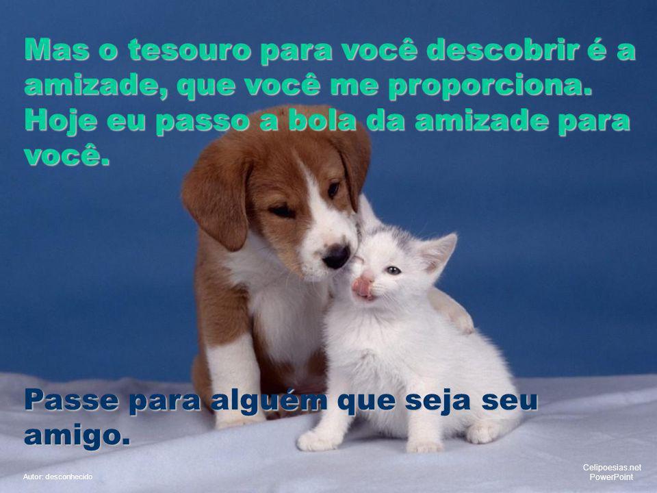 Mas o tesouro para você descobrir é a amizade, que você me proporciona.