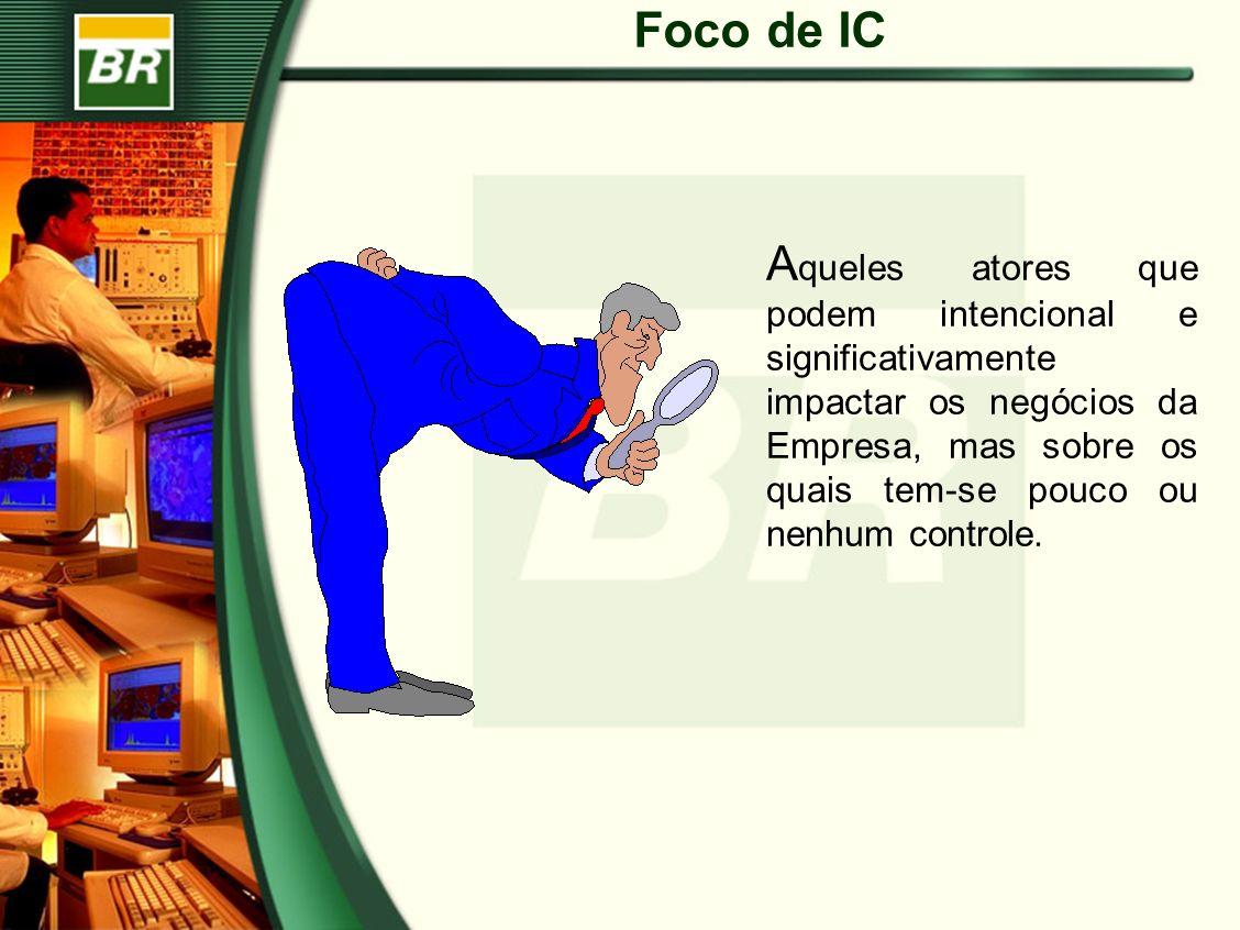 Foco de IC A queles atores que podem intencional e significativamente impactar os negócios da Empresa, mas sobre os quais tem-se pouco ou nenhum controle.