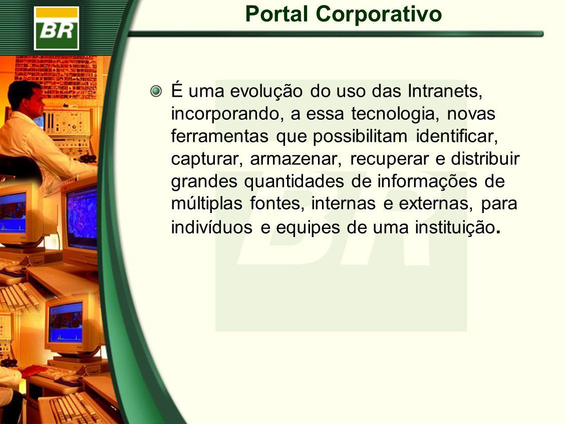 Portal Corporativo É uma evolução do uso das Intranets, incorporando, a essa tecnologia, novas ferramentas que possibilitam identificar, capturar, arm