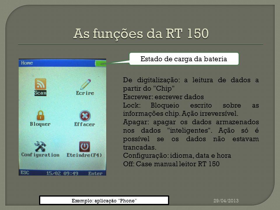 29/04/2013 Introduzir números / telefone Números de validação / phone Exemplo: aplicação Phone