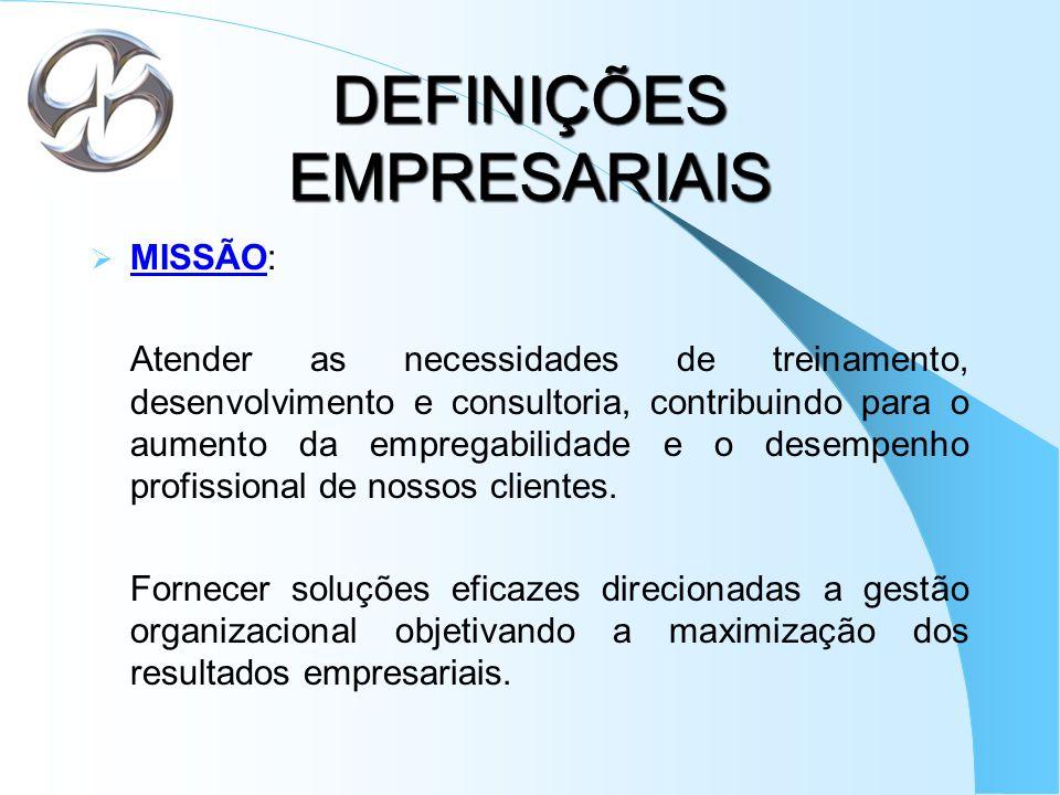 DEFINIÇÕES EMPRESARIAIS MISSÃO: Atender as necessidades de treinamento, desenvolvimento e consultoria, contribuindo para o aumento da empregabilidade