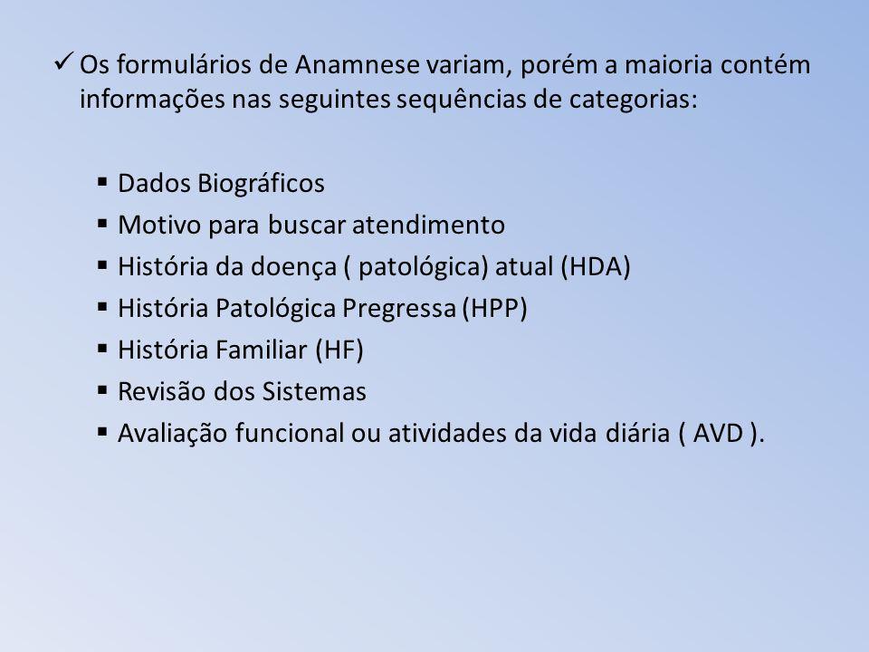 Os formulários de Anamnese variam, porém a maioria contém informações nas seguintes sequências de categorias: Dados Biográficos Motivo para buscar ate