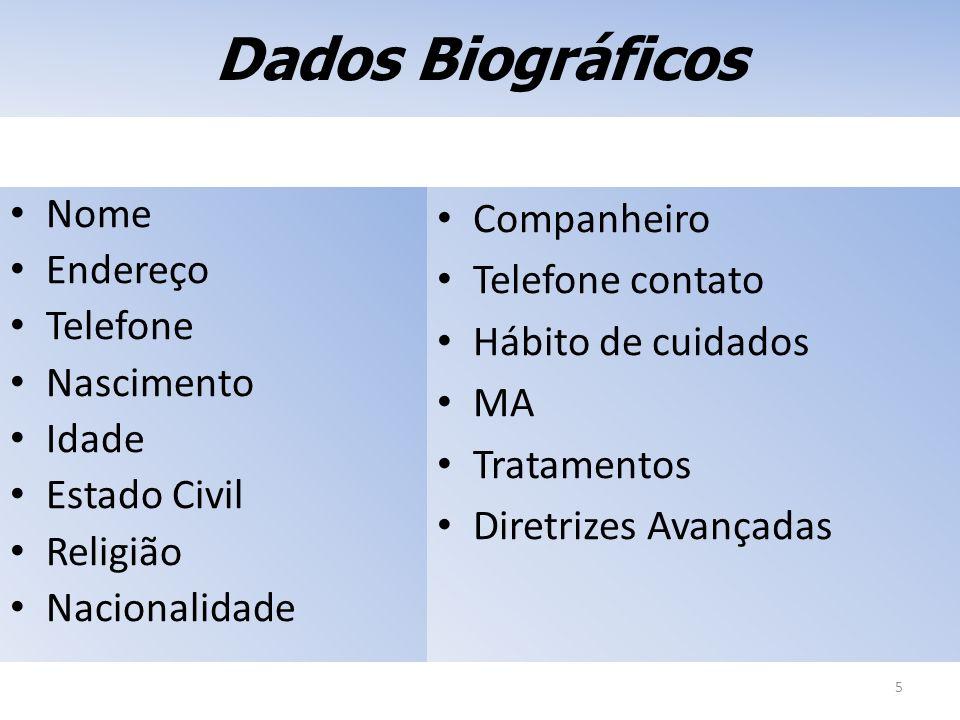Dados Biográficos Nome Endereço Telefone Nascimento Idade Estado Civil Religião Nacionalidade 5 Companheiro Telefone contato Hábito de cuidados MA Tra