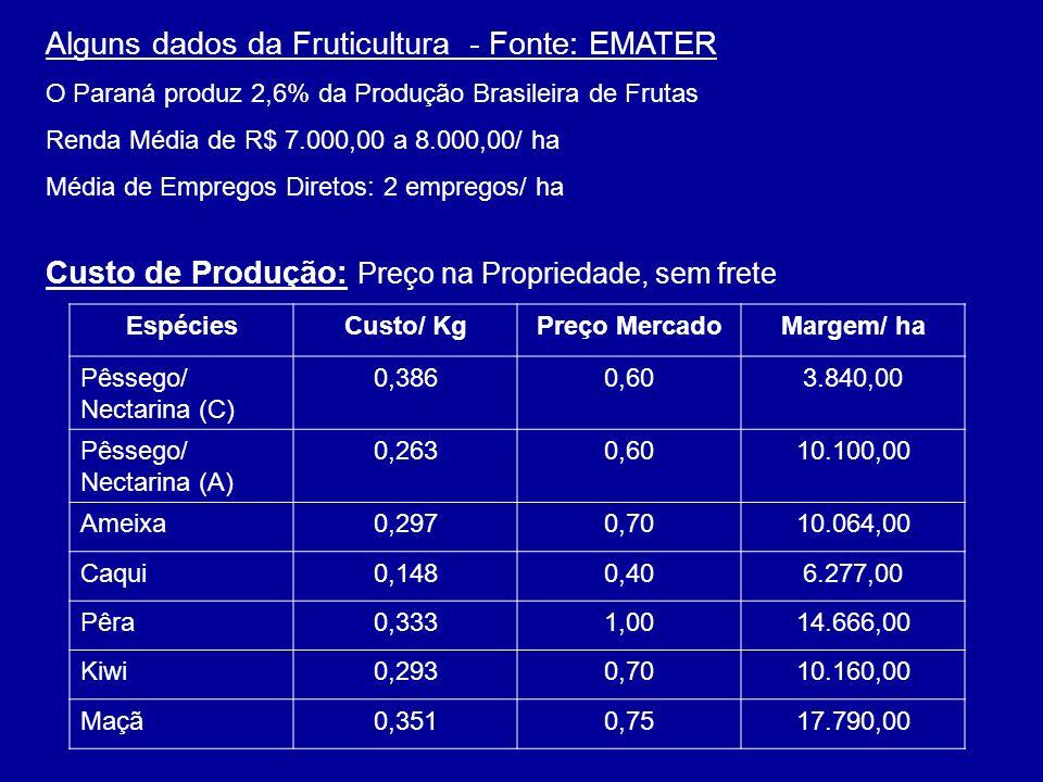 Alguns dados da Fruticultura - Fonte: EMATER O Paraná produz 2,6% da Produção Brasileira de Frutas Renda Média de R$ 7.000,00 a 8.000,00/ ha Média de