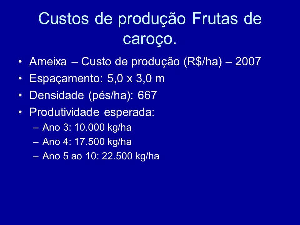Custos de produção Frutas de caroço. Ameixa – Custo de produção (R$/ha) – 2007 Espaçamento: 5,0 x 3,0 m Densidade (pés/ha): 667 Produtividade esperada