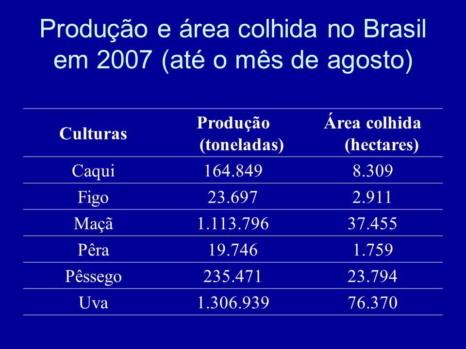 Produção e área colhida no Brasil em 2007 (até o mês de agosto) Culturas Produção (toneladas) Área colhida (hectares) Caqui164.8498.309 Figo23.6972.91
