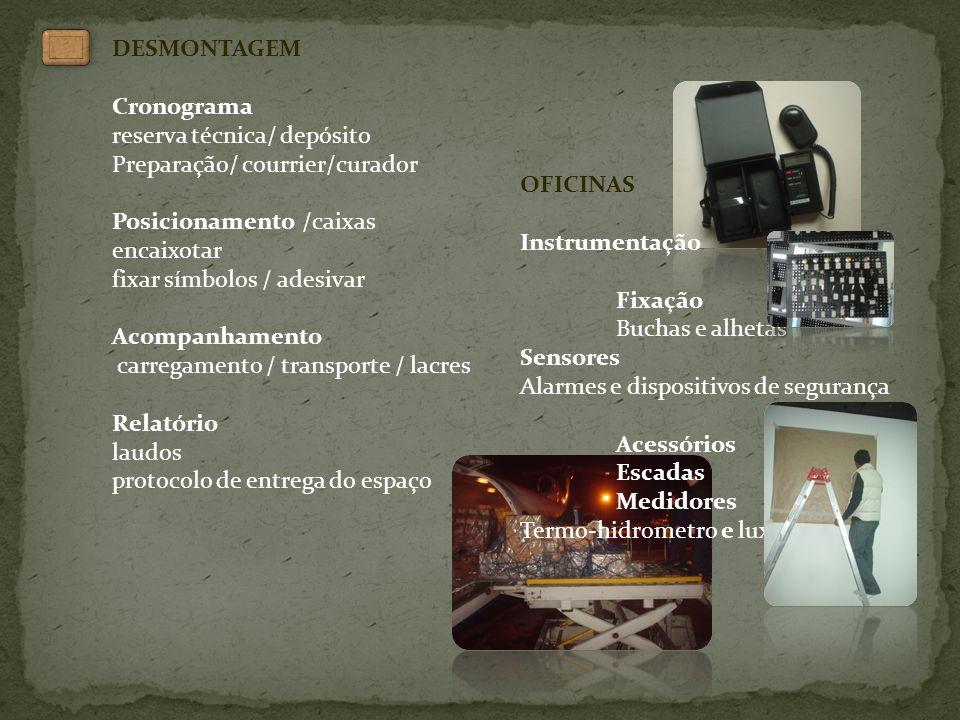 DESMONTAGEM Cronograma reserva técnica/ depósito Preparação/ courrier/curador Posicionamento /caixas encaixotar fixar símbolos / adesivar Acompanhamen