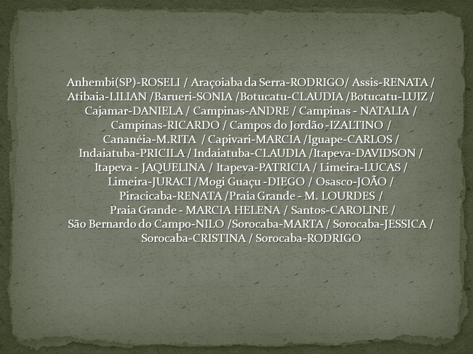 Anhembi(SP)-ROSELI / Araçoiaba da Serra-RODRIGO/ Assis-RENATA / Atibaia-LILIAN /Barueri-SONIA /Botucatu-CLAUDIA /Botucatu-LUIZ / Cajamar-DANIELA / Cam