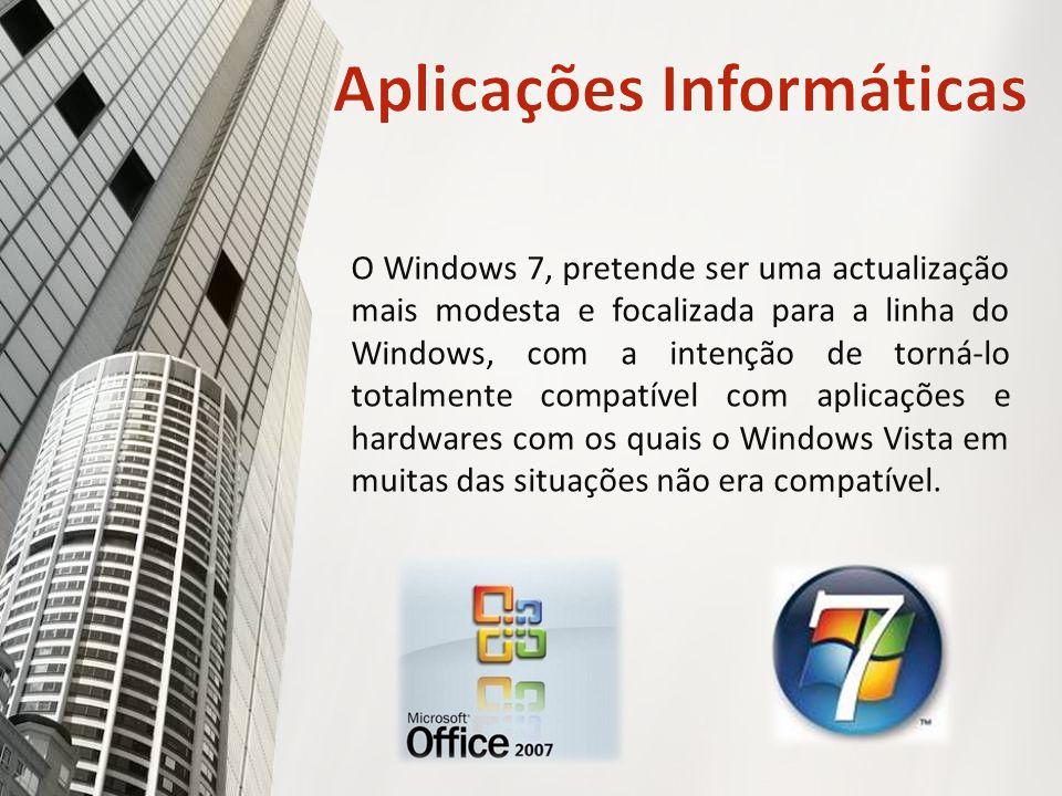 O Windows 7, pretende ser uma actualização mais modesta e focalizada para a linha do Windows, com a intenção de torná-lo totalmente compatível com aplicações e hardwares com os quais o Windows Vista em muitas das situações não era compatível.