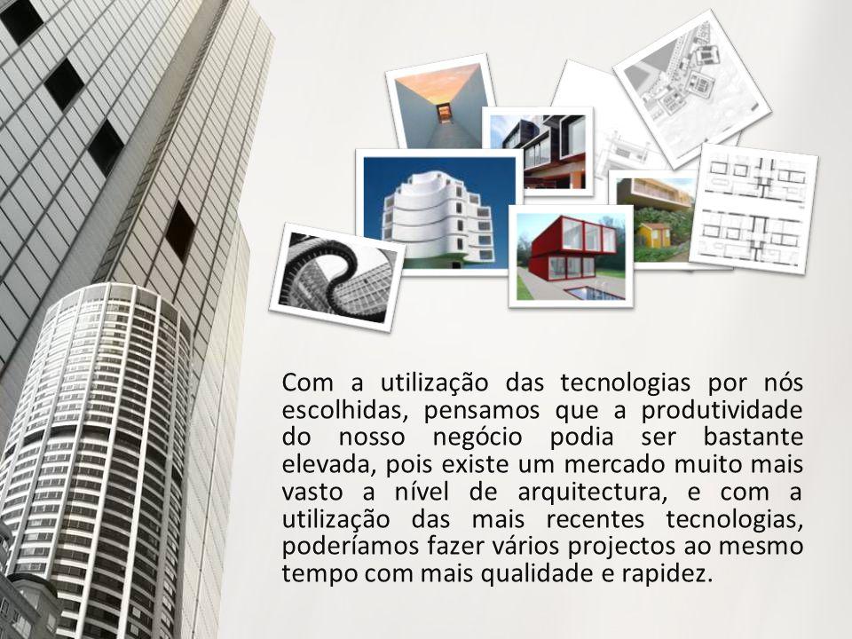 Com a utilização das tecnologias por nós escolhidas, pensamos que a produtividade do nosso negócio podia ser bastante elevada, pois existe um mercado muito mais vasto a nível de arquitectura, e com a utilização das mais recentes tecnologias, poderíamos fazer vários projectos ao mesmo tempo com mais qualidade e rapidez.