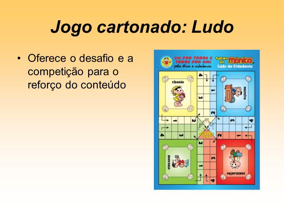 Jogo cartonado: Ludo Oferece o desafio e a competição para o reforço do conteúdo