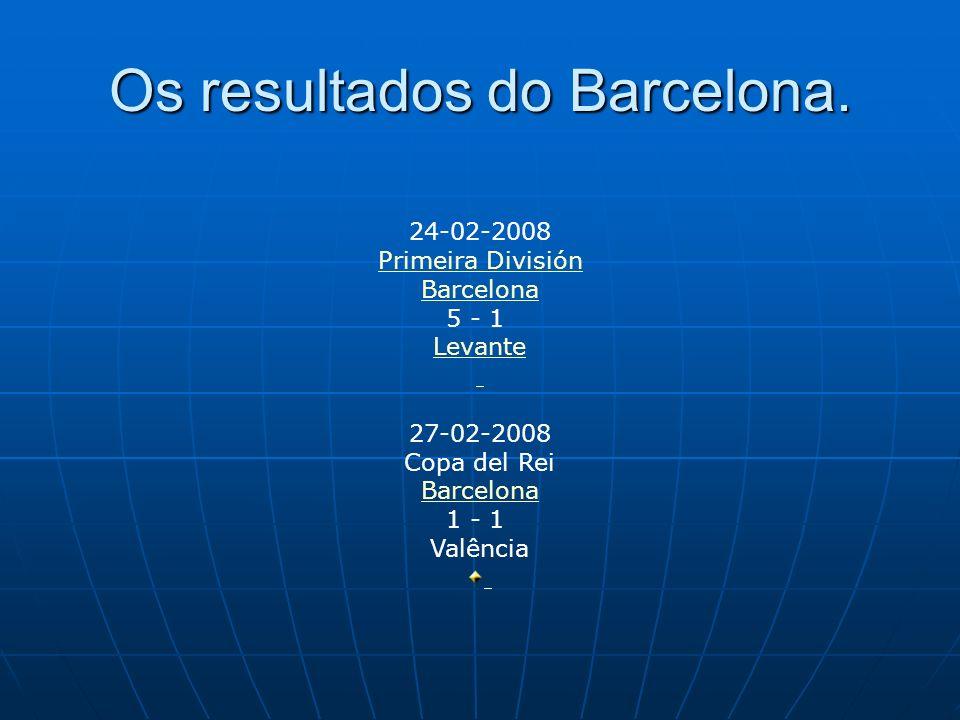 Resultados do mes de Março 20-03-2008 Copa del Rei Valência 3 - 2 Barcelona 29-03-2008 Primeira División Primeira División Barcelona 4 - 1 Valladolid 23-03-2008 Primeira División Primeira División Real Betis Real Betis 3 - 2 Barcelona