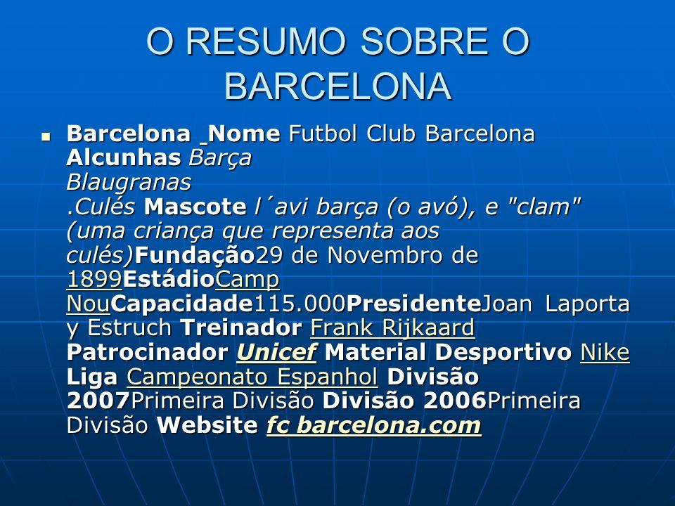 O RESUMO SOBRE O BARCELONA Barcelona Nome Futbol Club Barcelona Alcunhas Barça Blaugranas.Culés Mascote l´avi barça (o avó), e clam (uma criança que representa aos culés)Fundação29 de Novembro de 1899EstádioCamp NouCapacidade115.000PresidenteJoan Laporta y Estruch Treinador Frank Rijkaard Patrocinador Unicef Material Desportivo Nike Liga Campeonato Espanhol Divisão 2007Primeira Divisão Divisão 2006Primeira Divisão Website fc barcelona.com Barcelona Nome Futbol Club Barcelona Alcunhas Barça Blaugranas.Culés Mascote l´avi barça (o avó), e clam (uma criança que representa aos culés)Fundação29 de Novembro de 1899EstádioCamp NouCapacidade115.000PresidenteJoan Laporta y Estruch Treinador Frank Rijkaard Patrocinador Unicef Material Desportivo Nike Liga Campeonato Espanhol Divisão 2007Primeira Divisão Divisão 2006Primeira Divisão Website fc barcelona.com 1899Camp NouFrank RijkaardUnicefNikeCampeonato Espanholfc barcelona.com 1899Camp NouFrank RijkaardUnicefNikeCampeonato Espanholfc barcelona.com