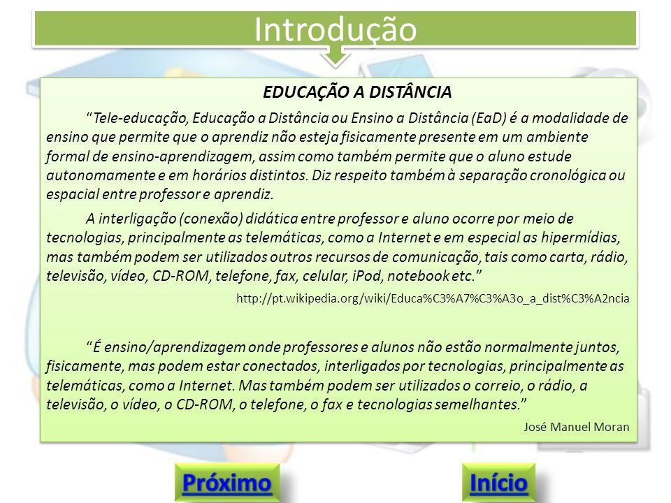Introdução EDUCAÇÃO A DISTÂNCIA Tele-educação, Educação a Distância ou Ensino a Distância (EaD) é a modalidade de ensino que permite que o aprendiz nã