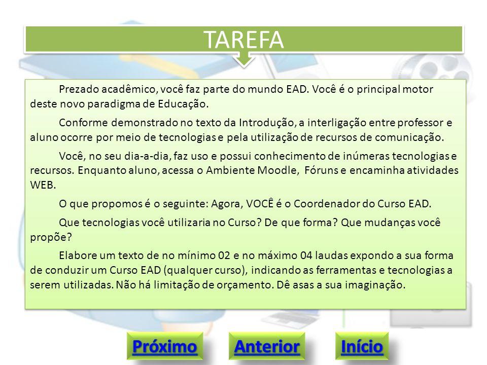 TAREFA Prezado acadêmico, você faz parte do mundo EAD. Você é o principal motor deste novo paradigma de Educação. Conforme demonstrado no texto da Int