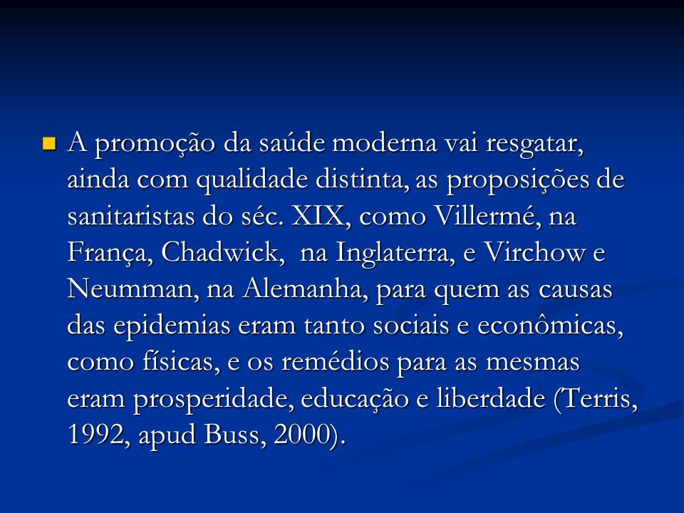 A promoção da saúde moderna vai resgatar, ainda com qualidade distinta, as proposições de sanitaristas do séc.