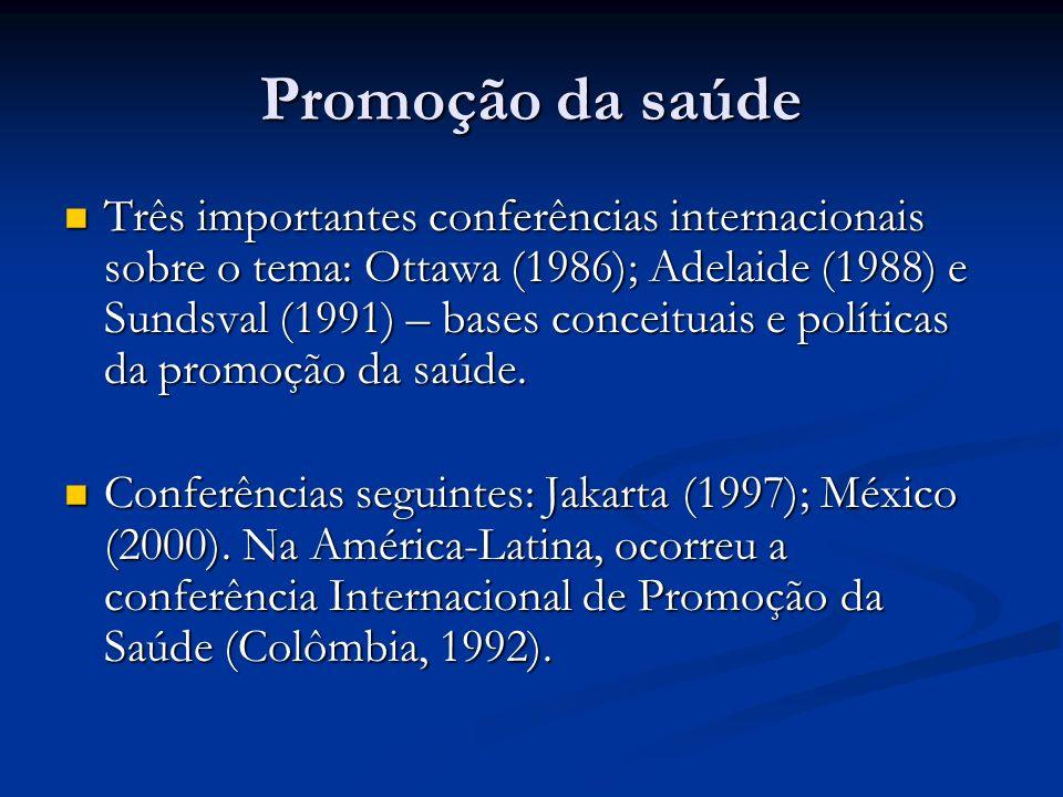 Promoção da saúde Três importantes conferências internacionais sobre o tema: Ottawa (1986); Adelaide (1988) e Sundsval (1991) – bases conceituais e políticas da promoção da saúde.
