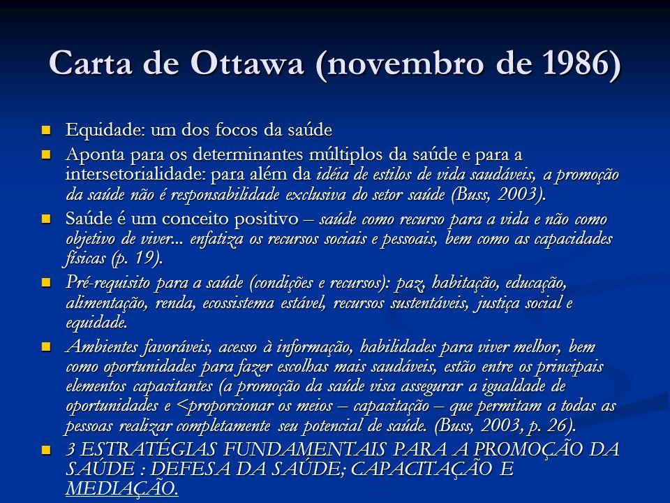 Carta de Ottawa (novembro de 1986) Equidade: um dos focos da saúde Equidade: um dos focos da saúde Aponta para os determinantes múltiplos da saúde e para a intersetorialidade: para além da idéia de estilos de vida saudáveis, a promoção da saúde não é responsabilidade exclusiva do setor saúde (Buss, 2003).